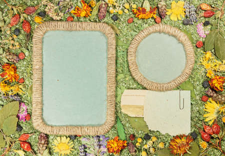 Background of fragments broken flowers and leaves. Scrapbooking element consists of mosaic of flowers and petals. For cards, invitations and congratulations. Use in greetings, scrapbooking.