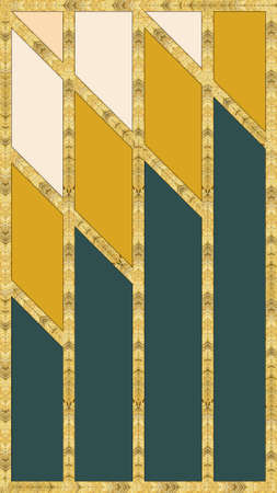 Modern mosaic, inlay. Illustration in stained glass style. Art deco background. Geometric pattern. Colored texture and golden artificial stone structure. Abstract print, creative tile surface. 스톡 콘텐츠