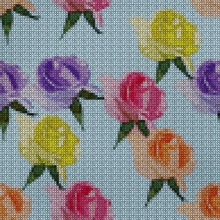Illustration. Cross-stitch. Rose flowers. Texture of flowers. Seamless pattern for continuous replicate. Floral background, collage.