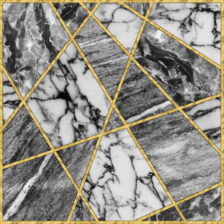 Modern mosaic, inlay. Illustration in stained glass style. Art deco background. Geometric pattern. Marble texture and golden artificial stone structure. Abstract print, creative tile surface.