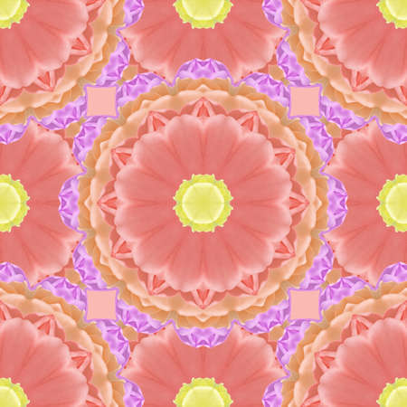 Seamless pattern for continuous replicate. Floral background, photo collage for production of textile, cotton fabric. For use in wallpaper, covers. Mandala drawing in oriental style.