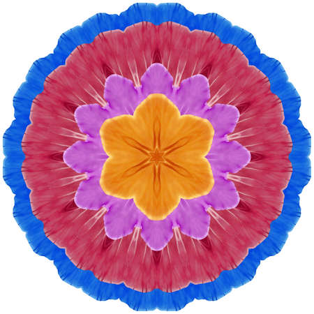 Mandala from dried pressed flowers, petals. Primula, primrose. Mandala is symbol of buddhism, hinduism, yoga. Ornament mandala with pattern floral elements in oriental style for relax and meditation.