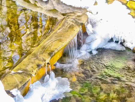 Abstract watercolor landscape. Spring stream, snow and ice, water cascade, waterfall. Digital painting. Watercolor drawing.