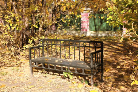 Autumn watercolor landscape. Metal bench in the park. Autumn sunny day. The September bright fallen leaves. Digital painting - illustration. Watercolor drawing. Imagens