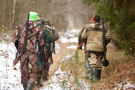 Group of hunters walking in the forest. Winter hunting Stock Photo