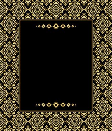 certificate template: Vintage floral design, graphic frame. Gold and black pattern. Damask pattern. Illustration