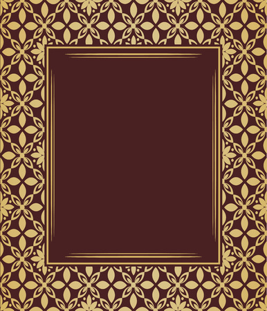 seamless: Vintage floral design, graphic frame. Golden pattern. Damask pattern.