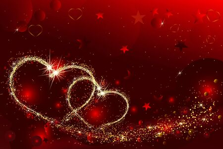 Hearts with flickering lights and stars of light. Abstract Valentines Day background Иллюстрация