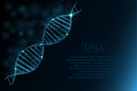 DNA code structure with glow in dark blue background with space for text. Nano technology.