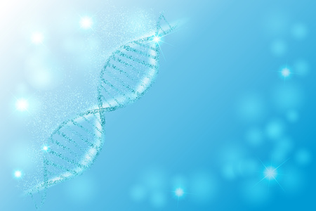 DNA sequence, DNA code structure with glow. Science concept background. Nano technology. Vector illustration, blue background with space for text