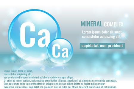 Mineral ca, calcium complex with chemical element symbol vector illustration Ilustração