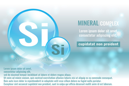 Mineral si, Silicium complex with chemical element symbol vector illustration