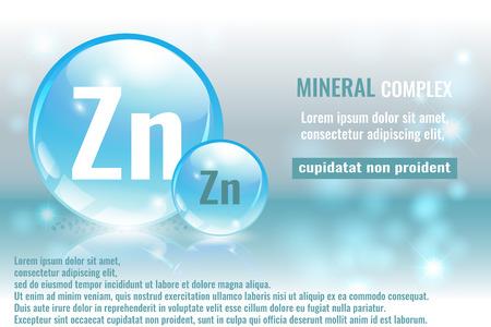 미네랄 zn, 화학 원소 기호 벡터 일러스트와 함께하는 Zincum 복잡 한