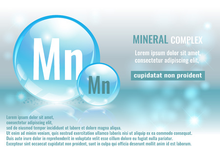 Mineral mn, Manganum complex with chemical element symbol vector illustration Illustration