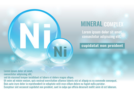 Mineral ni, Niccolum complex with chemical element symbol vector illustration