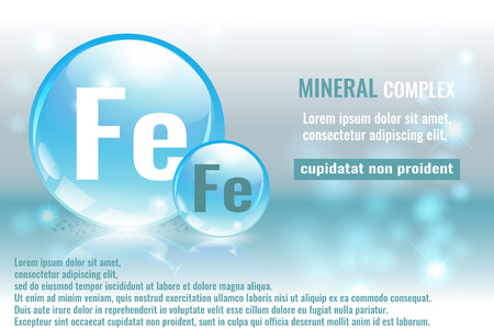 Mineral fe, ferrum complex with chemical element symbol vector illustration