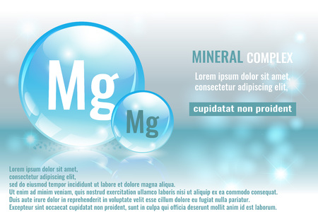 Mineral mg, Magnesium complex with chemical element symbol vector illustration