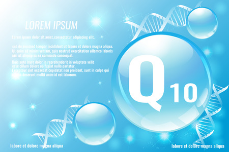 Coenzyme Q10. Hyaluronic acid. Space for text. Vector illustration.