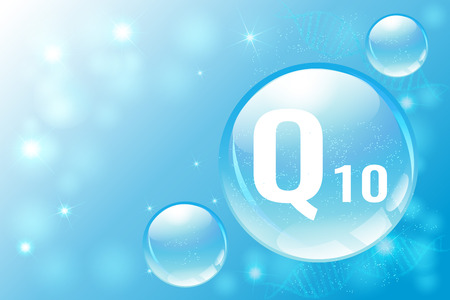 Coenzyme Q10. Hyaluronic acid. Space for text.