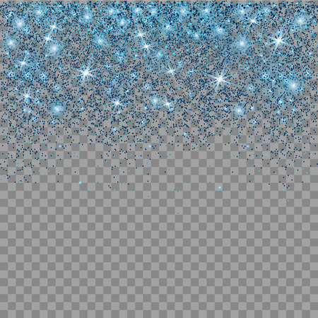 Sparkling snow flakes texture. Blue glitter texture. Particles background. Star dust sparks. Illustration
