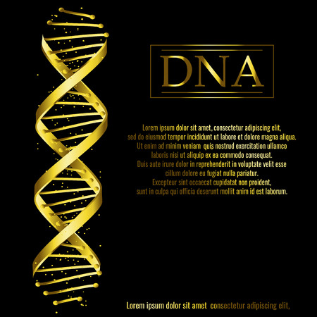 DNA sequence, gold DNA code structure with glow. Science concept background. Nano technology. Vector illustration, black background with space for text Иллюстрация