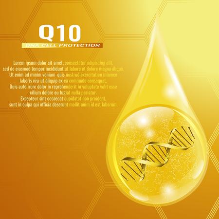 Collagen solution. Coenzyme Q10. Vector illustration of collagen drop.