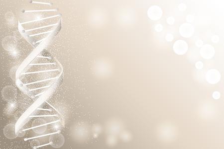 DNA配列、輝きを持つDNAコード構造。科学の概念の背景。ナノテクノロジー。ベクトルイラスト、テキスト用のスペースを持つ灰色の背景  イラスト・ベクター素材