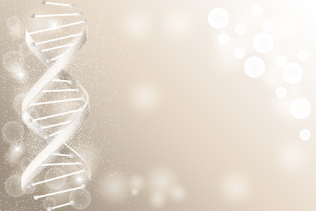 DNA sequence, DNA code structure with glow. Science concept background. Nano technology. Vector illustration, gray background with space for text Иллюстрация