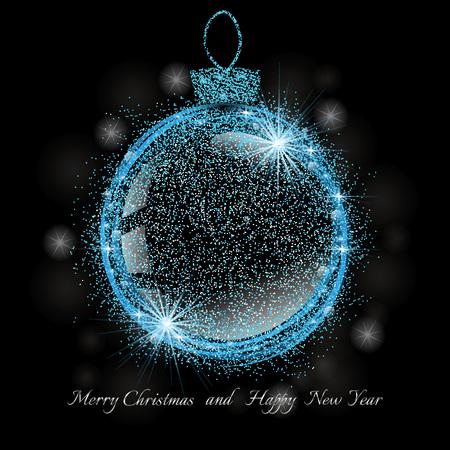 クリスマスのお祝いのための輝きと星の光沢のある青いクリスマスボール。