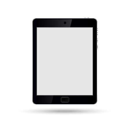 Mock up Tablet PC isolated on white. Vertical, Black. Vector Иллюстрация