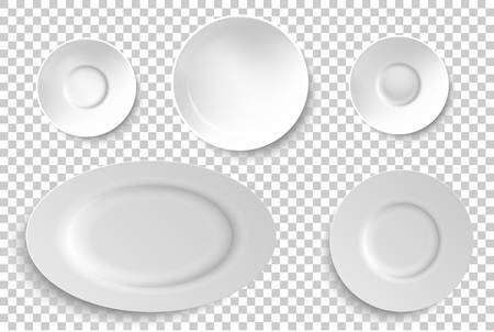 Set of ceramic, porcelain plates. Vector illustration.