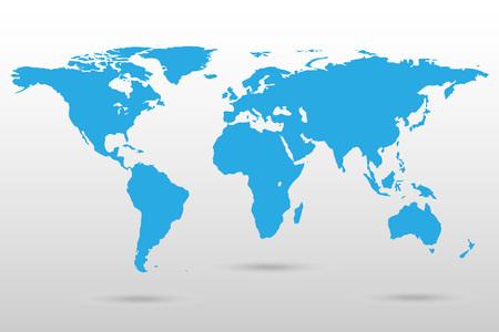 白で隔離された世界地図。ベクトルイラスト。