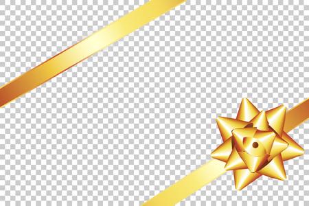 金色の弓と金色のリボン。装飾プレゼントクリスマス、新年のお祝い透明な背景イラストのための要素。