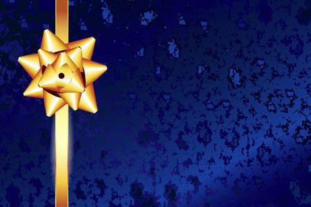 金色の弓を持つ青いテクスチャの背景。ゴールドボウとゴールドリボンのギフトカード。テキスト用のスペース。