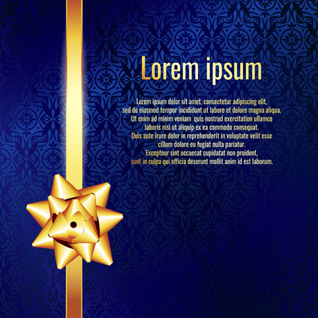 Blue textured background with gold bow. Gift Card with Gold Bow and Gold ribbon. Space for text.