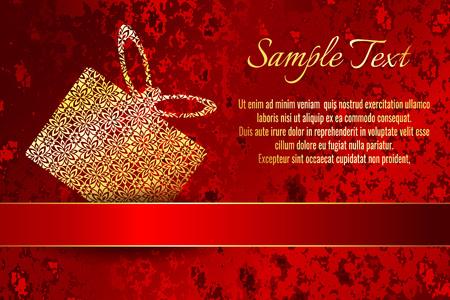 グリーティングカードや結婚式やパーティーの招待状の装飾。光沢のあるゴールドのリボンを持つ赤いグランジパターンの背景にフレーム。  イラスト・ベクター素材
