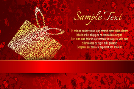 Greeting card or wedding and party invitation decoration. Frame on red grunge pattern background with a shiny gold ribbon. Иллюстрация