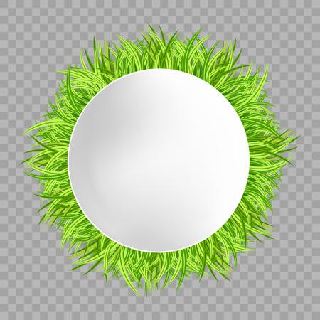 透明な背景に緑の草の丸いフレーム。ベクターの図。