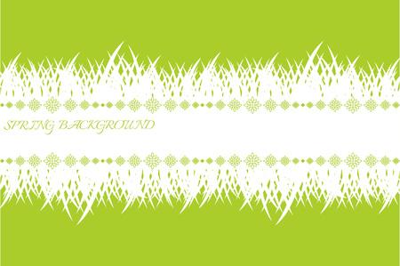 草と春のバナー。テキストの場所を持つ緑の春の背景。白い草とテンプレート。