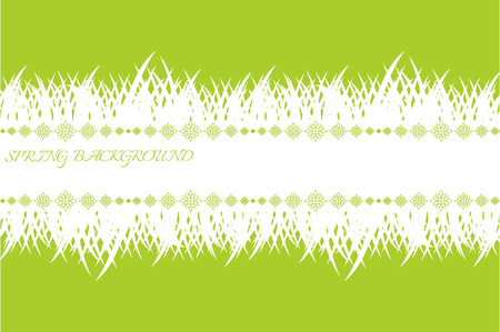Spring banner with grass. Green spring background with place for text. Template with white grass.