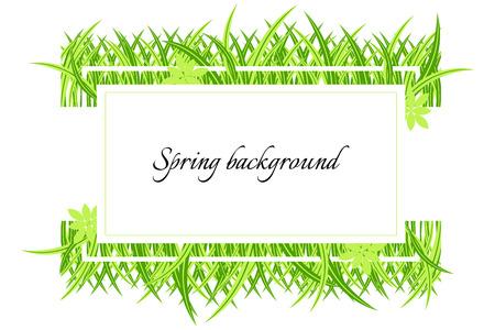 草と春のバナー。テキストの場所を持つ緑の春の背景。白いフレームの春の季節のためのカード。
