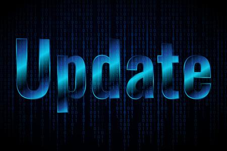 システム ソフトウェアの更新とアップグレードの概念。暗い背景にバナーテンプレートを更新します。