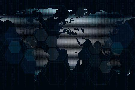 抽象的な世界サイバーセキュリティコンセプトの背景世界地図。