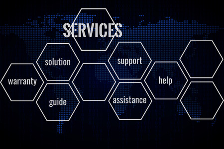 World technology services background. International business concept. Space for text.