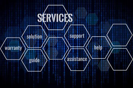テクノロジーサービスの背景。ビジネスソリューションの抽象的な背景。テキスト用のスペース。