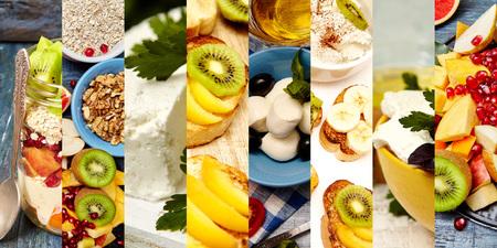 フィットネスフードのコラージュ。健康的な朝食セット。8枚の写真から健康的な食品のコラージュ。