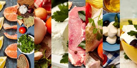 健康的な食品のための成分のコラージュ。健康的な食品のための新鮮な製品のセット。8枚の写真からコラージュ。