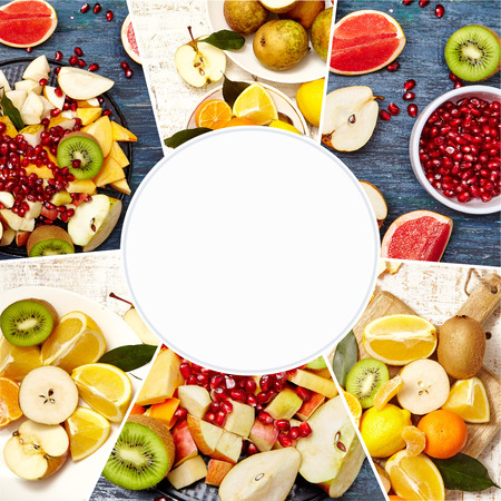 Collage of fresh fruits and berries for fruit salad. Healthy food concept. Photo of colorful fruit mix with white circle space for text. Фото со стока