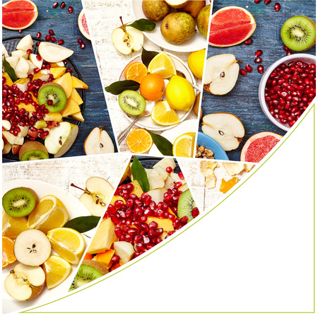 Collage of fresh fruits and berries for fruit salad. Healthy food concept. Photo of colorful fruit mix with white frame space for text. Фото со стока
