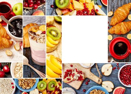 テキスト用の空白を含む朝食写真のコラージュ。